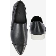 Vince Pointy-Toe Leather Slip On Sneaker: Black ($275) ❤ liked on
