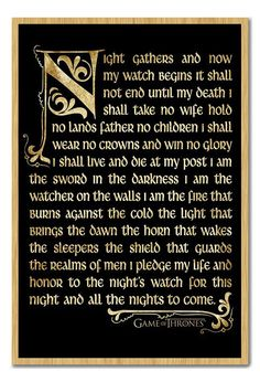 Game Of Thrones Nightwatch Oath Framed Cork Memo Notice Board With Pins in Home, Furniture & DIY | eBay