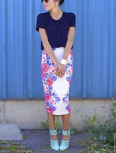 T-length floral skirt. Just the right amount to add a pop of summer color!