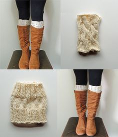 2 Knitting Patterns, Ana Cable Boot Cuffs Knitting Pattern & Basic Boot Cuffs Knitting Pattern - Digital PDF 2 Knitting Patterns -