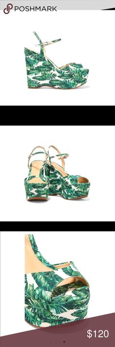 Schutz Printed Canvas Sandals. NIB. Size 7.5 New. Details and Fit - Schutz tonal-green and off-white Patrycia sandals- Wedge heel measures approximately 135mm/ 5.5 inches with a 50mm/ 2 inches platform- Printed canvas - Open almond toe- Buckle-fastening ankle strap SCHUTZ Shoes Wedges