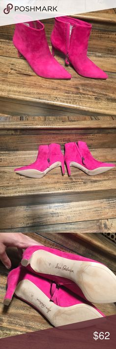 Pink Booties Like new! 2 inch heel. Small spot- see last photo. No trades. Sam Edelman Shoes Ankle Boots & Booties