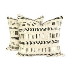 Image of Mud Cloth Black and Ivory Pillows - A Pair