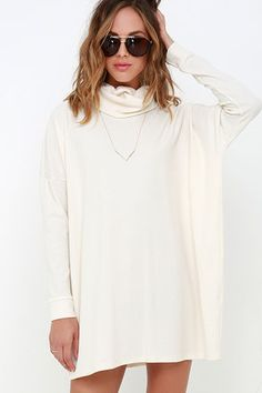 A day of full-fledged relaxation could be even better if spent in the Scheme of Things Cream Long Sleeve Dress! Cream knit fabric, with a cool waffle texture, shapes a folding turtleneck. Wide-cut bodice is finished with tapered long sleeves and ends at a relaxed-fitting hem. Unlined. 49% Cotton, 48% Polyester, 3% Spandex. Hand Wash Cold. As Seen On Lilit of @makeupbylilit!