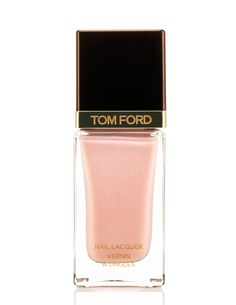 This peaches n' cream Tom Ford polish has a faint silver shimmer. We recommend three coats for a streak-free result.