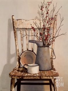 Watering Can on Chair Art Print by Cecile Baird at Art.com