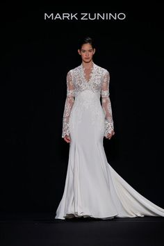 Winter wedding inspiration | long-sleeved gown by Mark Zunino