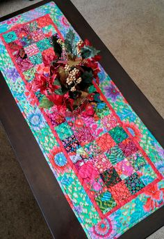 Boho Chic Christmas Table Runner, Bohemian, Hippie Chic, Global, Kaffe Fassett, Industrial Table Linens, Unique, Colorful, Kitchen, Dining by LittleWheelerQuilts on Etsy