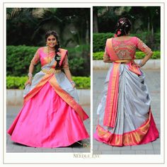 Our favourite saree lehenga collection, and this time with a beautiful elephant detailing on the back ✨ Wedding Saree Blouse Designs, Pattu Saree Blouse Designs, Half Saree Designs, Blouse Designs Silk, Saree Wedding, Wedding Dress, Saree Wearing Styles, Saree Styles, Dress Styles
