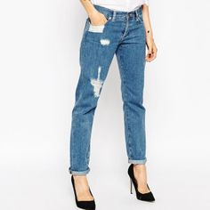 brookl_ASOS Brady Boyfriend Jeans In Cypress Midwash With Rips ($63 USD)