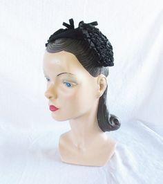 1940's Vintage Half Hat Head Band Black with by MyVintageHatShop, $53.00