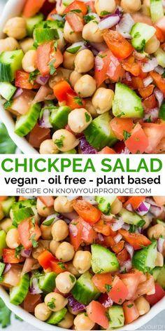 Best Cost-Free Chickpea salad - refreshing summer salad side dish recipe - vegan, vegetarian, o . Ideas Chickpea salad – refreshing summer salad side dish recipe – vegan, vegetarian, o … – Fitne Vegan Dinner Recipes, Whole Food Recipes, Cooking Recipes, Summer Vegetarian Recipes, Healthy Vegetarian Recipes, Salad Recipes Vegan, Raw Vegan Dinners, Oats Recipes, Dinner Healthy