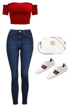 A fashion look from December 2017 featuring red top, blue jeans and white shoes. Browse and shop related looks. Outfits Teenager Mädchen, Teenage Girl Outfits, Teen Fashion Outfits, Outfits For Teens, Swag Outfits, Casual Summer Outfits, Stylish Outfits, Polyvore Outfits, Jugend Mode Outfits