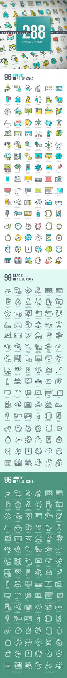 Set of Thin Line Icons for Business and Technology  — EPS Template • Only…