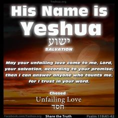 Lovingkindness = Chesed in Hebrew ~ May Your lovingkindnesses come to me, Adonai — Your salvation according to Your word— so I may answer the one taunting me, for I trust in Your word. Psalms 119:41-42