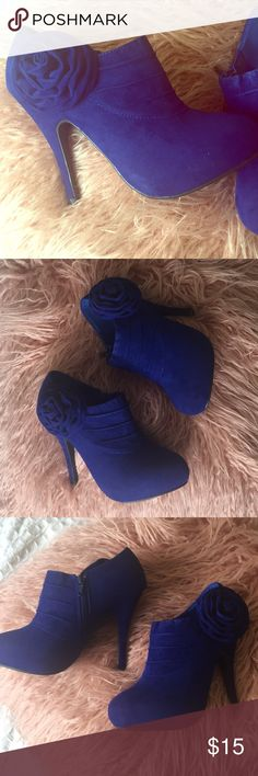🆕✨Royal Blue Ankle Booties Details: •Size 8.5,9,9 •Faux Suede •Zipper on the sides •Heel height 4.5 inches •Rose appliqué  •New in Box Flourish Shoes Ankle Boots & Booties