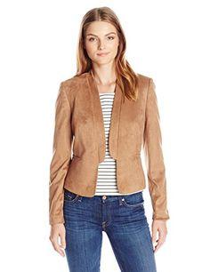 Nine West Women's Faux Suede Shawl Collar Jacket, Tan, 12