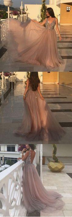 Sexy A-Line V-Neck Prom Dresses,Long Prom Dresses,Cheap Prom Dresses, Evening#2018PromDresses#PromDresses#LongPromDresses#PartyDress#EveningDress#dress#dresses#CheapPromDress#GraduationDress