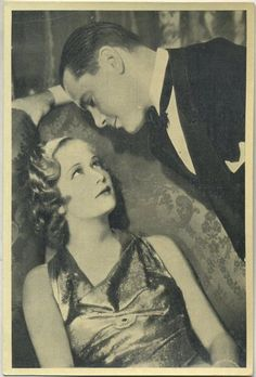 Miriam Hopkins and Herbert Marshall in scene from 1932's TROUBLE IN PARADISE on 1940 Max Cinema Cavalcade Tobacco Card. Click through for Marshall biography.