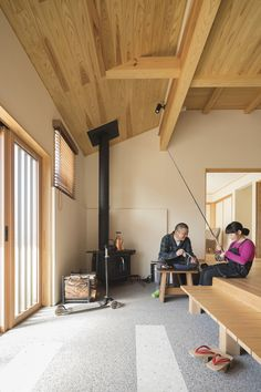 茨城 家づくり I様邸 通り土間のある玄関 薪ストーブ 洗い出し 無垢 Interior Architecture, Interior And Exterior, Interior Design, Japanese Style House, Cubes, Modern Tiny House, Japanese Interior, Wood Burner, House Rooms