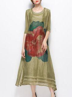 Olive Green Floral Printed Shift Half Sleeve Midi Dress