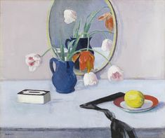 Francis Campbell Boileau Cadell (1883-1937), Still Life of Pink Tulips in a Blue Jar.  Cadell was a Scottish Coulorist. This still life was painted after Cadell had moved into a home where he painted the front door in a strong ultramarine, and the walls inside a rich mauve.