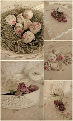 nelly vintage home: hand painted eggshells ~❥
