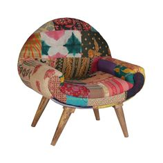 Dot & Bo Calcutta Arm Chair in Vintage Kantha Colorful Chairs, Colorful Furniture, Cool Furniture, Furniture Chairs, Upholstered Accent Chairs, Upholstered Furniture, Fabric Armchairs, Chair Fabric, Furniture Upholstery