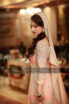 Pakistani Pink & Peach Blush Wedding Bridal Outfit | Irfan Ahson Photography