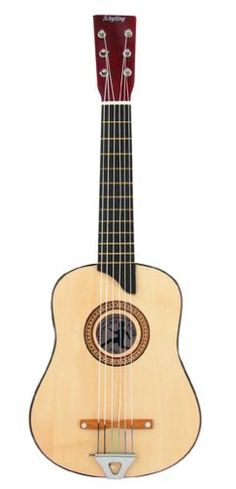 "Schylling 6 String Acoustic Guitar by Schylling. $29.99. Good for learning the basics. Wooden bridge, metal tail piece, ivory-like tuning pegs and nylon strings. Acoustic style. Measures 24.50"" tall. 6 string guitar. From the Manufacturer                Kids love music. This 6 string guitar is great to learn the basics. It features a wooden bridge, metal ail piece, ivory-like tuning pegs and nylon strings. Also includes extra string, pick and detailed tuning instructio..."
