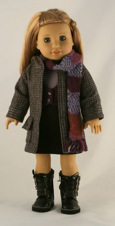American Girl Doll Clothes - Hoodie Coat, Lined Vest, Faux Suede Skirt, Baseball Tee, and Knitted Scarf Ag Clothing, Ag Doll Clothes, Doll Clothes Patterns, Doll Patterns, My American Girl, American Girl Crafts, American Girl Clothes, Hand Knit Scarf, Girl Dolls