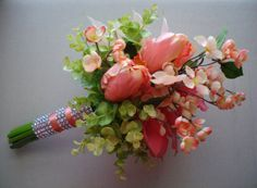 Bridal Bouquet Peach Coral and Pink Bouquet Bridal by Axentz, $187.08