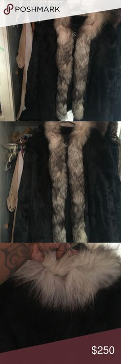 ⚡️SALE 🔥RABBIT FUR COAT W/ FOX FUR COLLAR Great deal for this coat! No size tag but can fit size 16-20. The coat itself is in great condition but the gray fur trimmings need to be restored in some places as pictured. Feel free to ask any questions. Can ship by the end of end of day! MAKE ME AN OFFER!! Need to clean out my closet!! Jackets & Coats