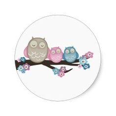 Mama Owl and Twins {Pink and Blue}   Stickers