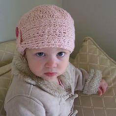 Ravelry: Knit-Look Crocheted Cloche pattern by Lisa van Klaveren Crochet Beanie Hat, Crochet Cap, Crochet Girls, Crochet Baby Hats, Crochet For Kids, Baby Knitting, Knitted Hats, Crochet Hooks, Free Crochet