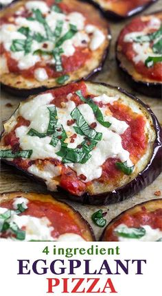 Eggplant slices topped with pizza sauce and mozzarella cheese, this low carb Grilled Eggplant Pizza makes a perfect easy, light, and gluten free meal! - Eat the Gains Entree Recipes, Easy Dinner Recipes, Appetizer Recipes, Breakfast Recipes, Dinner Ideas, Easy Dinners, Meal Ideas, Food Ideas, Appetizers