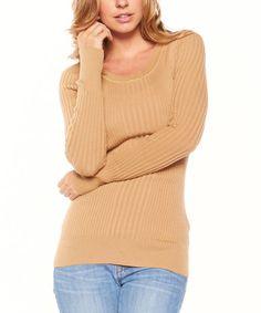 Look at this #zulilyfind! Camel Ribbed Sweater #zulilyfinds