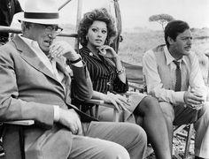 Vittorio De Sica, Sophia Loren and Marcello Mastroianni on the set of Matrimonio all'italiana, 1964
