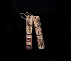 Raven hand carved earrings, rectangle drop design by Terrance Campbell. Sterling silver. First Nations Jewelry.