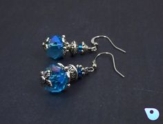 Blue crystal earrings, Silver drop earrings, Gypsy Boho Jewelry, Victorian…
