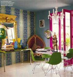 Bachelorette Pad Inspiration For the Chicest Single Ladies: Saturated hues of teal and fuchsia complement one another in a surprisingly pleasant way. Source: Simon Upton for Domino Style At Home, Peacock Chair, Butterfly Chair, London House, Interior Decorating, Interior Design, Matthew Williamson, Vintage Design, Eclectic Style