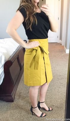 Olive Yellow Bow Skirt: Trunk Club Try-On April 2017: Spring Fashion