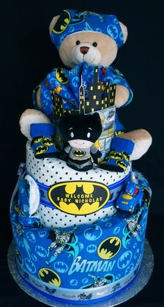 Batman 3 Tier Diaper Cake www.facebook.com/DiaperCakesbyDiana  www.TopsyTurvyDiaperCakes.com * diaper cakes for baby shower & washcloth favors