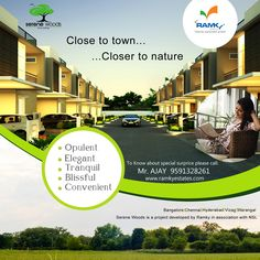 #RamkySereneWoods is an exclusive smart-living gated community designed for a lifestyle that promotes living larger than life. For More Info Visit - www.ramkyestates.com