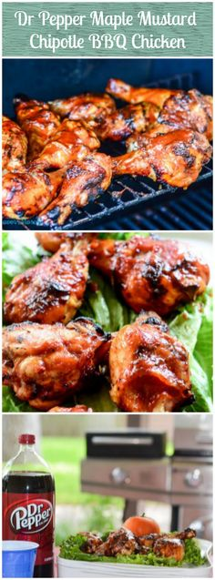Dr Pepper Maple Mustard BBQ Chicken is grilled chicken with a unique homemade sweet, spicy, and smoky barbecue sauce.