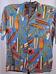 Hilo Hattie The Hawaiian Original Shirt L Blue/Surfboards Coconut Shell Buttons #HiloHattie #Hawaiian