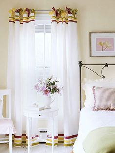 No-Sew window treatment. Velvet ribbon in three sherbet shades turns plain white tab-top curtains into an elegant treatment. To create the look, lay out the panels and attach horizontal bands of ribbon with fabric glue. To make the ties at the top, cut the tabs off, then cut six evenly placed, 1-inch horizontal slits across each panel. Finish by cutting V shapes out of the ends of each tie