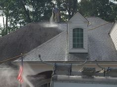 Our no-pressure roof washing can remove damaging lichens and algae without causing pressure damage to your roof