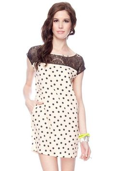 Lace and Dots Dress in Peach