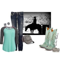 """Ride Hard"" by rodeo-chic on Polyvore, @oldgringoboots Turquoise Cowboy Boots"